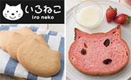 【写真左】いろねこサブレ プレーン/【写真右】いろねこ食パン+(プラス) ラ・フレーズ(苺)
