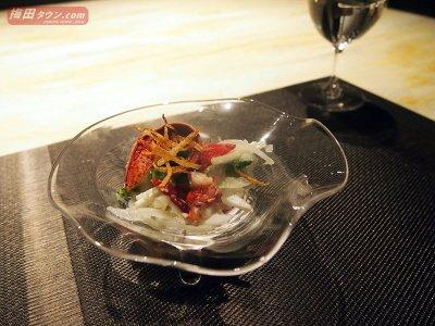 春野菜とオマール海老のサラダ 玉ねぎドレッシング和え